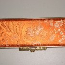 Orange Chinese Brocade Jewelry Box Organizer Asian Gold Paisley Floral Compact Mirror Case