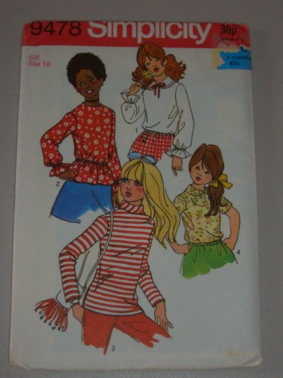 Simplicity Sewing Pattern 9478 Girls' Blouses Size 10 Uncut Retro Blouses Long Short Sleeves