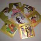 Gold Japanese Shikishi Paperboard Coasters Set of 7 Collectible Vintage Asian Geisha Kimono