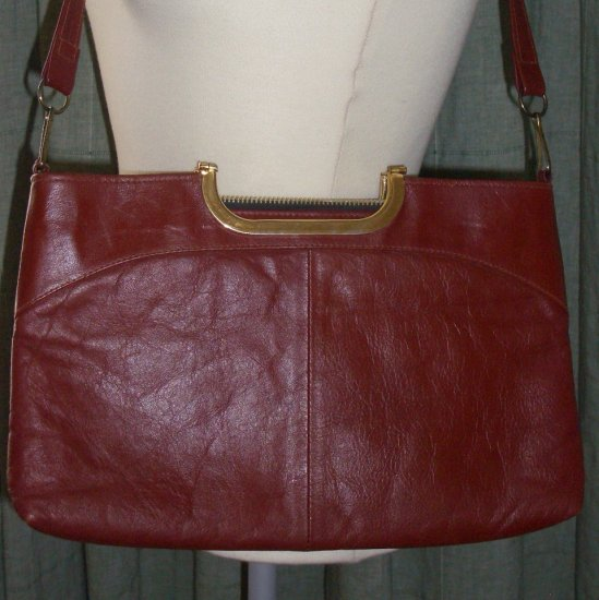 70s Oxblood Matte Leather Purse Shoulder Handbag with Gold Tone Handles