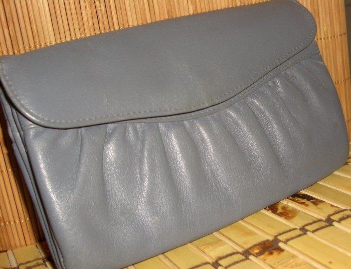 Grey Leather Vintage Clutch Purse Pocketbook by Renwick