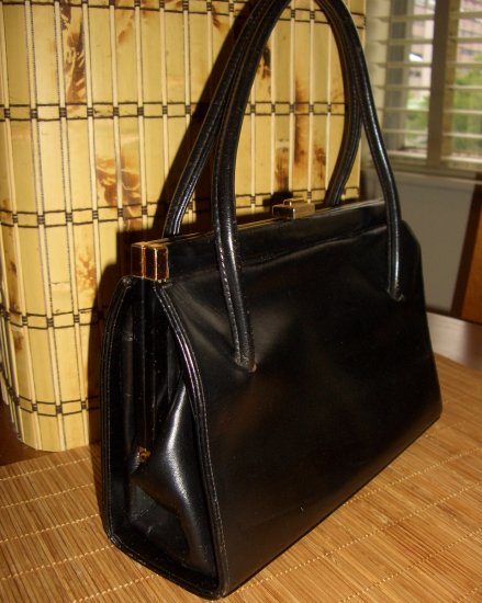 Black Leather Vintage Kelly Waldybag Made in England