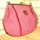 Vintage Burgundy Logo Suede Purse Kisslock Frame Handbag Made in Spain