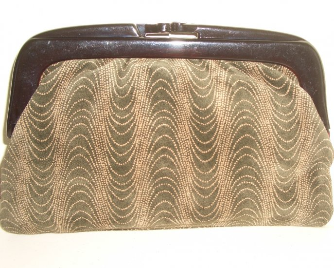 Mod Brown Suede Clutch Purse Lucite Frame Vintage Made in Italy