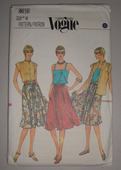 Vogue Pattern 8010 Top Skirt Size 8 Uncut Retro 80s Tops and Skirt Set