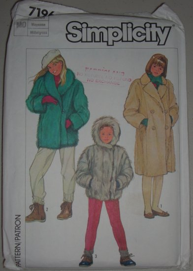 Simplicity Sewing Pattern 7196 Girls' Coats Sz 8-10 Uncut Child's Lined Fur Jackets and Coat