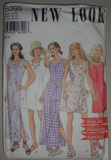 Uncut 1995 New Look Dress Pattern 6395 Size 6-8-10-12-14-16 Women's Sleeveless Summer Dress
