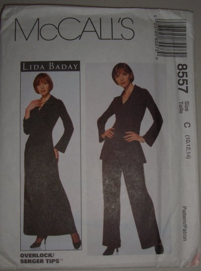 1996 McCall's Pattern 8557 Lida Baday Size 10-12-14 Uncut Women's Knit Dress Tunic and Pants