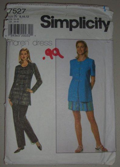 1997 Simplicity Pattern 7527 Women's Suit Size 8-10-12 Uncut Top Pants Shorts Set Asian Loop Closure