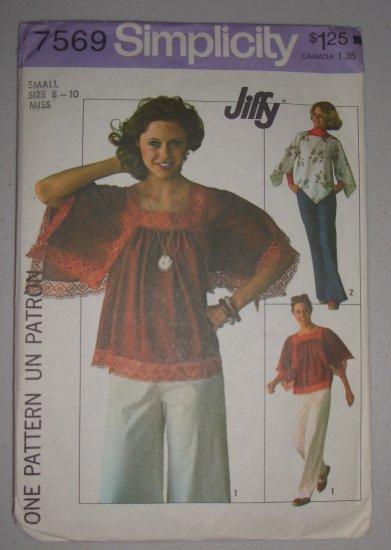 CUT Vintage Simplicity Pattern 7569 Handkerchief Top Sz 8-10-S Misses' Retro 70s Angel Wings Boho