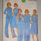 CUT Butterick 4660 Pant Skirt Suit Size 14 Women's Retro 70s Suit Jacket Vest Trousers