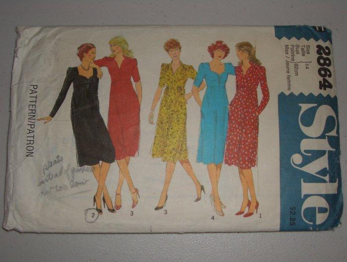CUT Vintage Style Sewing Pattern 2864 Dress Sz 14 Women's Retro 70s Empire Waist Sweetheart Dress