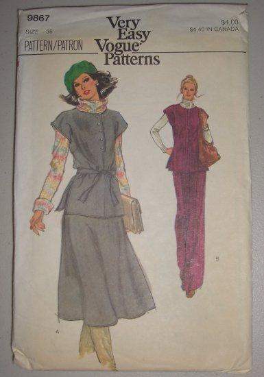 Vogue Pattern 9867 Women's Separates Size 38 Uncut Vintage 80s Tunic Skirt Pants Set