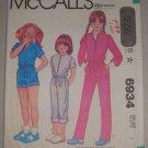 McCall's Sewing Pattern 6934 Girls' Jumpsuit Sz 7 Uncut Vintage 80s Long Short Jumpsuit
