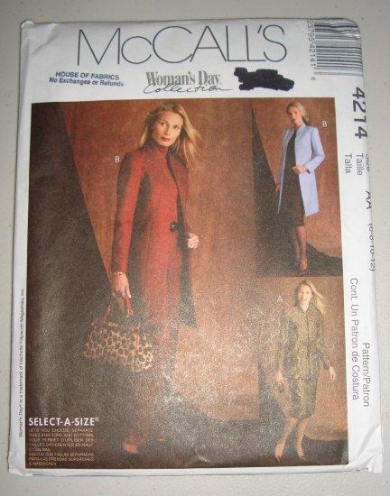 McCall's Pattern 4214 Women's Suit Size 6-8-10-12 Uncut Princess Mandarin Collar Jacket Skirt Pants