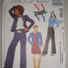 McCall's Sewing Pattern 3732 Youth Girls' Suit Sz 11-18 Puff Sleeve Jacket Pants Skirt Knit Top