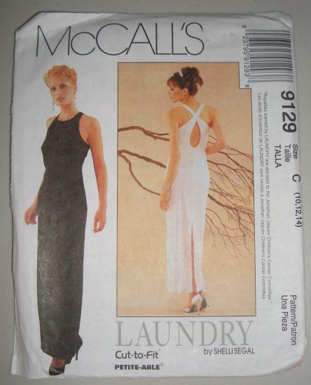 McCall's 9129 Women's Evening Dress Size 10-12-14 Uncut Elegant Crossover Keyhole Back Formal Gown
