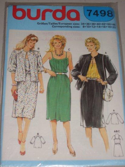 Dress with Front Tucks Gathered Jacket Sizes 8-20 Uncut Women's Burda Pattern 7498 Retro Dress Set