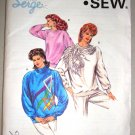 80s Glam Ladies Sweatshirts Sizes Xs-L Retro Uncut Kwik Sew Pattern 1631 Women's Tops Applique