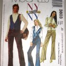 Patchwork Hippy Vest Junior Sz 11-18 McCall's Sewing Pattern 3803 Bell Bottoms Fitted Blouse