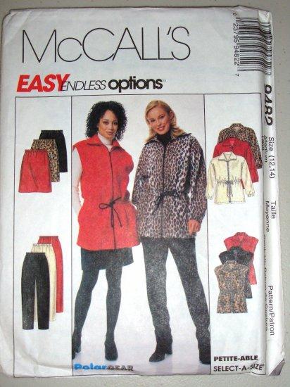 Ladies' Fleece Separates Anorak Vest Sizes 12-14 Uncut McCall's 9482 Sportswear Outfit Skirt Pants