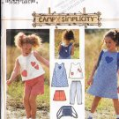 Girls' Summer Beach Outfit and Bag Sz 2-4 Simplicity Sewing Pattern 7150 Dress Pants Shorts