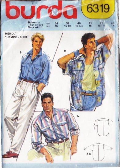 CUT Vintage 80s Men's Casual Shirt Euro Size 40 Burda 6319 Batwing Button Hawaiian Cruise Shirt
