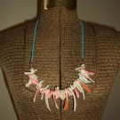 Amazon Shells Hippy Boho Necklace with Turquoise Suede Lacing Beach Retro Bohemian Island Funky Chic