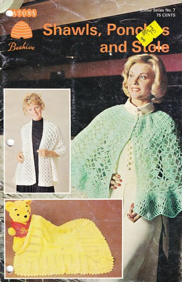 Shawls, Ponchos and Stole Beehive Book Vintage Knitting Crocheting Pattern Women's Retro Cover-ups