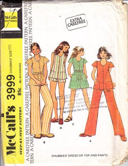 Retro Girls' Dress or Top and Pants Size 10.5 Uncut Vintage 70s McCall's 3999 Puffy Sleeves Tent Top