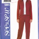Ladies' Pant Suit Zipper Jacket Size 6-10 Uncut Butterick 5801 Women's Collar Jacket Straight Pants