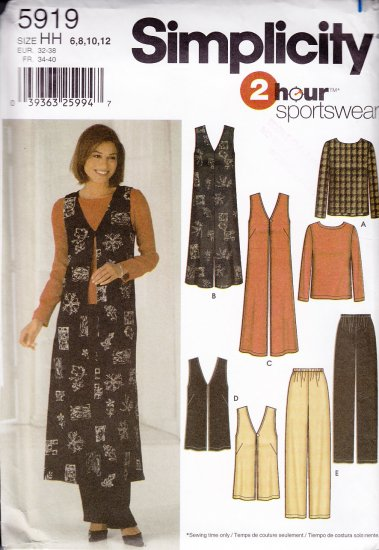 Long or Short Vest Top and Pants Size 6-12 Uncut Simplicity 5919 Casual Layering Outfit Duster Vest