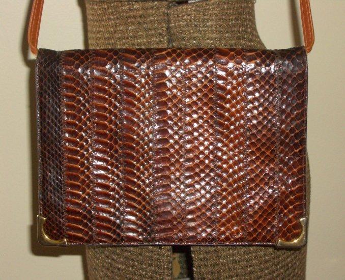 Tobacco Snakeskin Leather Clutch Purse Retro 70s Chic Femme Ladylike Handbag by La Belle Montreal