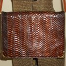 Tobacco Snakeskin Leather Clutch Purse Retro 70s Chic Femme Ladylike Handbag by La Belle Montreal