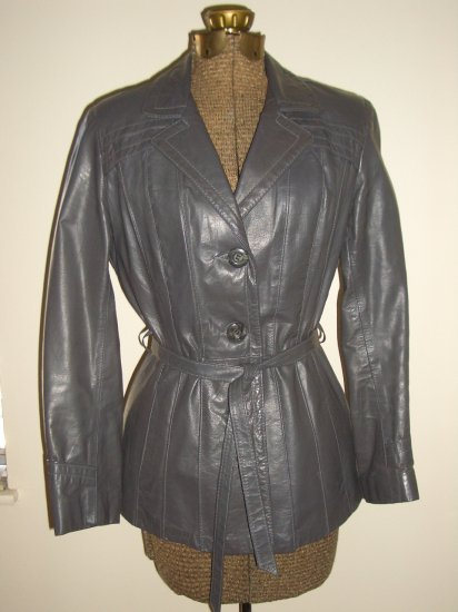 Hipster 70s Grey Leather Jacket by Cosa Nova Vintage Mod Retro Notched Collar Pleated Belted Coat