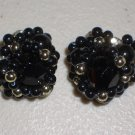 Retro Earrings Onyx Gold Clip-on Classic Vintage Inky Black Seed Bead Clusters Formal Fancy Evening
