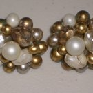 White Gold Faux Baroque Pearls Vintage Cluster Earrings Clip-on Elegant Retro Chic Feminine Glamour