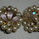 Classic Elegant Clip-on Pearl Earrings White Faux Pearls Gold Leaf Clusters Retro Chic Glam Vintage