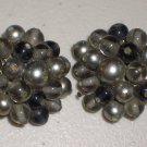 Smoky Grey Vintage Clip-on Earrings Elegant Retro Chic Charcoal Faux Pearls Glass Beads Clusters