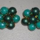 Vintage Clip-on Earrings Teal Jade Faux Pearl Cluster Green Beads Retro Chic Feminine Ladylike Glam