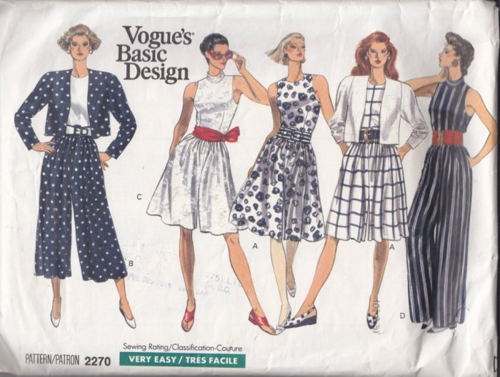 Fit and Flared Jumpsuit Bolero Jacket Size 6-10 Uncut Vintage Vogue 2270 Retro 80s Chic Sportswear