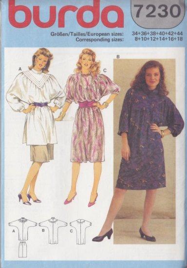 80s Boho Prairie Dress and Tunic Size 8-18 Uncut Burda 7230 Retro Peasant Yoke Batwing Painter Smock
