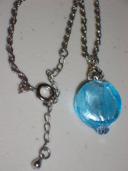 Twisted Chain and Aqua Pendant Silver Tone Rope Princess Necklace Sweet Girly Round Glass Bead Charm