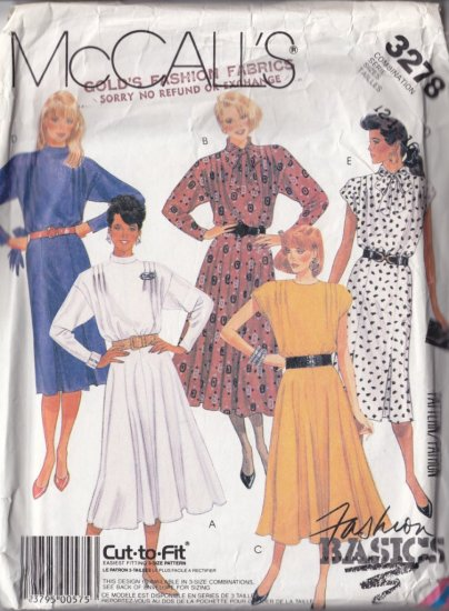 Indie Secretary Retro 80s Dress Size 12-16 Uncut McCall's 3278 Feminine Fitted Flared Scarf Pleats