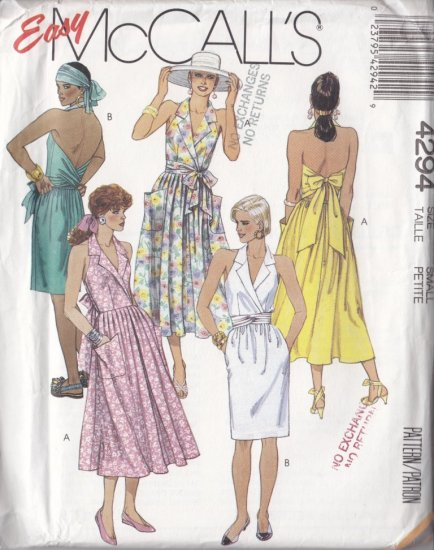 Fun Sexy 80s Halter Dress Size 10-12 Uncut McCall's 4294 Full Gathered Rockabilly Fitted Slim Skirt