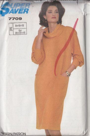 Mod Stylish 80s Knit Dress Size 8-12 Uncut Simplicity 7709 Retro Power Glam Cowl Bold Shoulder Pads