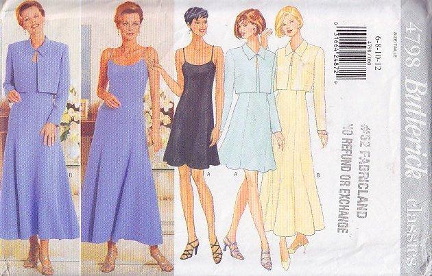 Flared Day Dress Bolero Set Size 6-12 Uncut Butterick 4798 Long Elegant Flirty Short Cropped Jacket