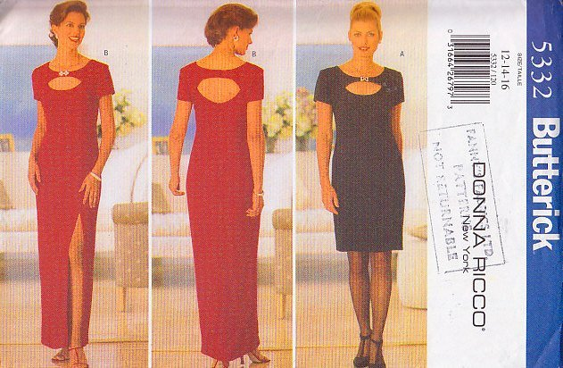 Peek-a-boo Sexy Keyhole Evening Dress Size 12-16 Uncut Butterick 5332 Glam Chic Donna Ricco New York
