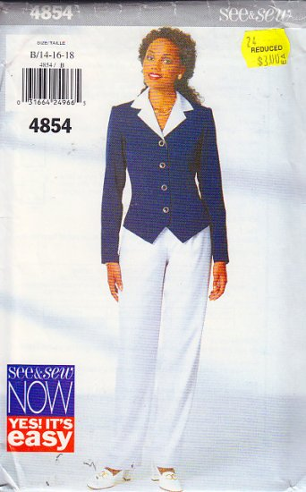 Stylish Chic Pant Suit Outfit Size 14-18 Uncut Butterick 4854 Notched Collar Basic Straight Trousers
