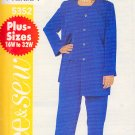 Basic Pants Suit Separates Plus Size 16W-20W Uncut Butterick 5352 Easy Chic Cardigan Top Trousers